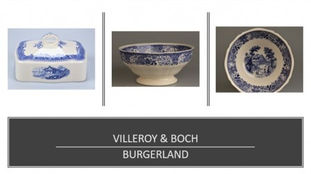 "SERVIRAVIMO INDAI VILLEROY&BOCH ""BURGERLAND BLUE"", PAPILDYMAS, PORCELIANAS"