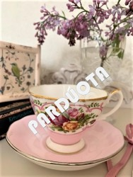 "PUODELIS DUO ROYAL ALBERT ""ROSE CAMEO PINK"", 1 vnt, KAULINIS PORCELIANAS"